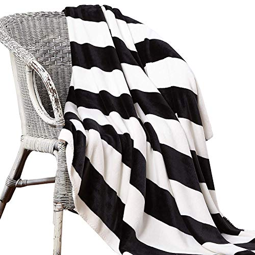 NTBAY Minimalism Series Throw Blankets Double-Layered Flannel Plush Velvety Super Soft Cozy Warm with Black and White Printed Pattern(70