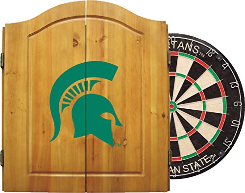 Imperial Officially Licensed NCAA Merchandise: Dart Cabinet Set with Steel Tip Bristle Dartboard, Michigan State Spartans