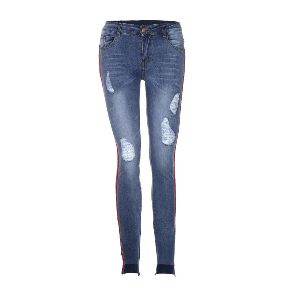 071bdc4565 LILYYONG Women High-Waist Denim Jeans Trousers Ripped Stretchy Hole Pencil  Pants: Amazon.co.uk: Clothing