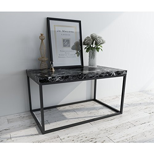 Roomfitters Marble Print Coffee Table Living Room Bedroom Essentials Accent Rectangular Cocktail Table, Black Black Marble Tray