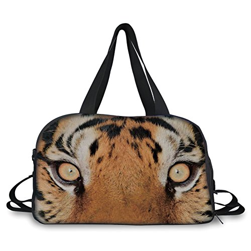 iPrint Travelling bag,Safari Decor,Close up Tiger Eyes Hunter Look Feline Camouflage Coat Animal with Shady Colors Photo,Orange Black ,Personalized by iPrint (Image #7)