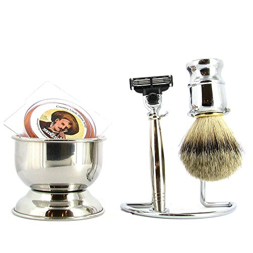 (Mach 3 Shaving Set, 4 Piece, Polished Chrome)