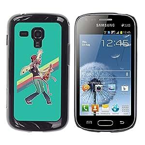 Ihec Tech Pintura del arco iris LGBT Ukulele Hippie Arte / Funda Case back Cover guard / for Samsung Galaxy S Duos S7562