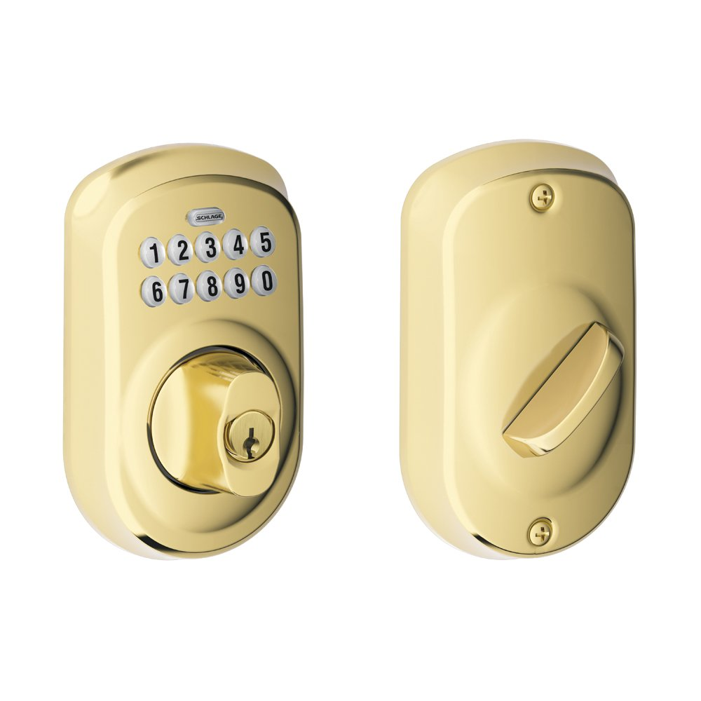 Schlage BE365VPLY505 Plymouth Keypad Deadbolt, Bright Brass   Door Dead  Bolts   Amazon.com