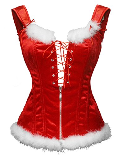 Bslingerie Womens Faux Leather Steampunk Corset with Zipper (UK 12-14 (L),...