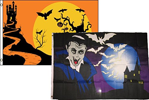 ALBATROS 3 ft x 5 ft Happy Halloween 2 Pack Flag Set Combo #62 Banner Grommets for Home and Parades, Official Party, All Weather Indoors Outdoors for $<!--$39.17-->