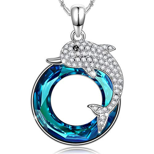 (SIVERY Women's 'Dolphin Fairy' Pendant Necklace, Made with Swarovski Crystals, Jewelry for Women, Mothers Day Jewelry from Daughter (Jewelry for Women))