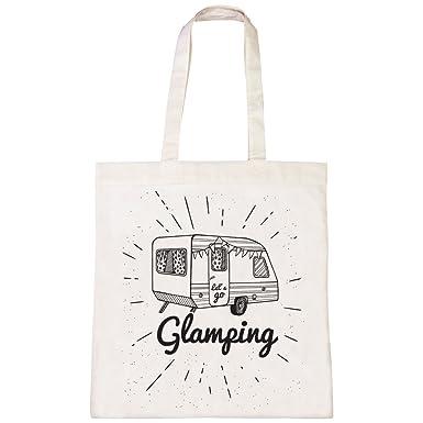 ce6976d9546e Batch1 Lets Go Glamping Caravan Camping Summer Music Festival Tote Bag  Shopper  Amazon.co.uk  Clothing