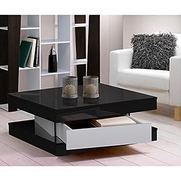 Parfait FIXY Table Basse 80 Cm Noir Et Blanc Brillant