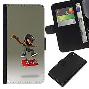 KLONGSHOP // Tirón de la caja Cartera de cuero con ranuras para tarjetas - patinador barba cgi monopatín adolescente - Sony Xperia Z3 D6603 //