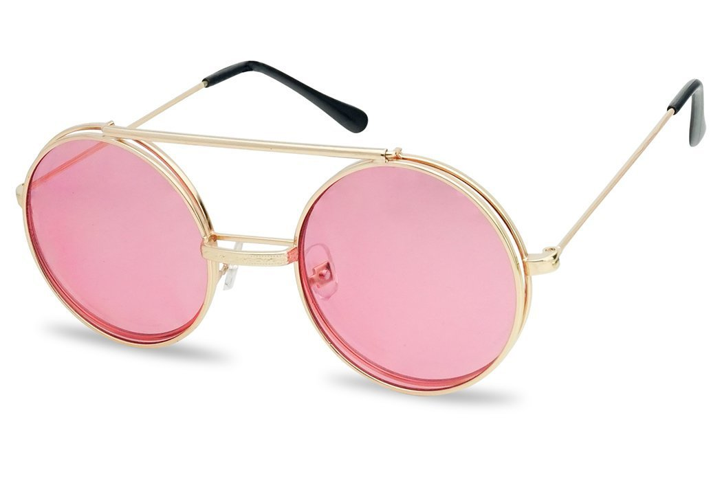 Round Circular Django Flip-Up Steampunk Inspired Metal Two in One Sunglasses (Gold Frame | Pink, 53) by SunglassUP