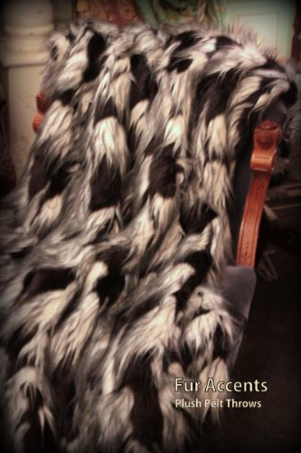 Fur Acents Faux Fur Throw Blanket Black and White Exotic Feather 60'' X 70'' by Fur Accents