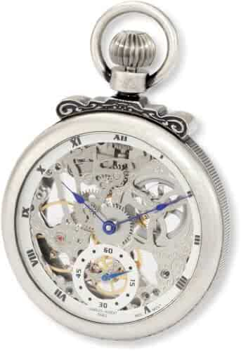 Charles-Hubert, Paris 3869-S Classic Collection Antiqued Finish Open Face Mechanical Pocket Watch