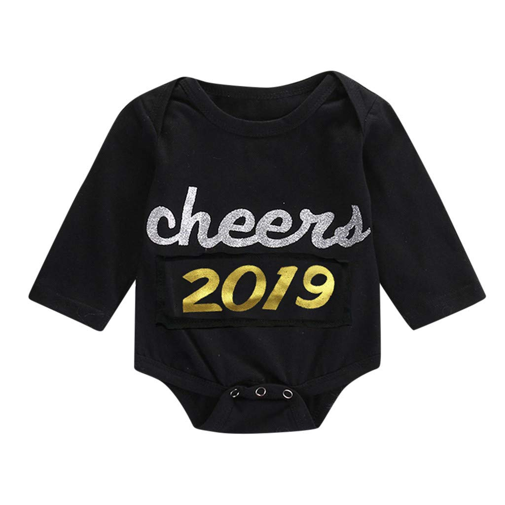 Xshuai  ® 2019 Newborn Infant Baby Girl Boy Letter Romper Bodysuit Clothes New Year's Outfits