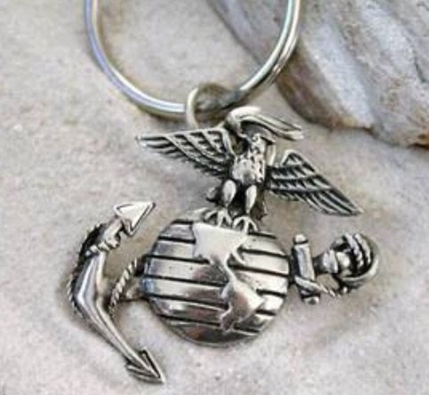 Pewter USMC Marine Corps Insignia Semper Fi Keychain Key Tag
