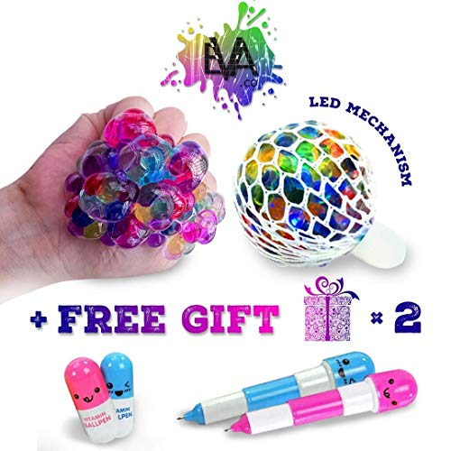 EVA.co Led Anti Stress Ball and Two Funny Pens - Squishy Light up Ball - Anti Stress Toy - Mesh Stress Ball - Grape Ball - DNA Ball - Slime Stress Ball - ADHD Fidget Toy