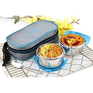 Next Eat Fresh Executive Steel Lunch Box Soft Insulated Bag Tiffin Set of 2 SS Containers. 11 51K2FS7PjhL. SS300