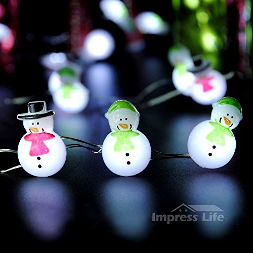 Impress Life Christmas Tree Decoration String Lights, Snowman 10 ft Silver Wire 40 LEDs with Remote & Timer for Indoor and Covered Outdoor, Fireplace Mantel Wreath Garland Home Bedroom Winter Ornament (Snowman Christmas Lights)