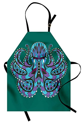 Ambesonne Kraken Apron, Zentangle Stylized Ethnic Legendary Animal Totem Vintage Hippie Image Art, Unisex Kitchen Bib Apron with Adjustable Neck for Cooking Baking Gardening, Blue Mauve