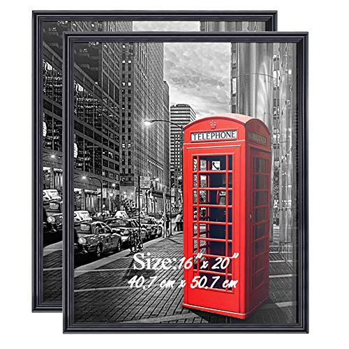 - PETAFLOP 16x20 Picture Frames for Wall Poster Frame 16 x 20 Black Frame, Display Large Wall Pictures, Pack of 2