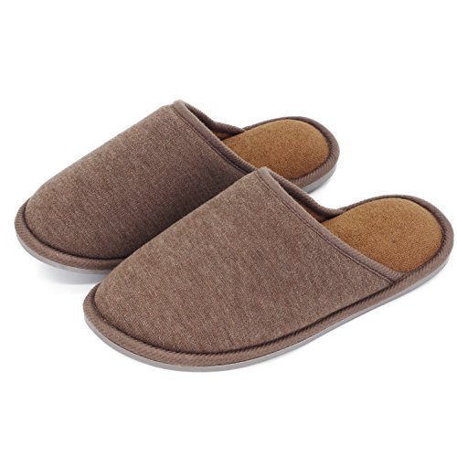 Moodeng House Slippers Memory Foam For Women Men Anti-Skid Indoor Slide Shoes Washable Lightweight Ladies Home Slipper (US 7-8.5 -Men, Brown) by Moodeng (Image #1)
