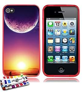 Carcasa Flexible Ultra-Slim APPLE IPHONE 4S de exclusivo motivo [Crepusculo] [Roja] de MUZZANO  + ESTILETE y PAÑO MUZZANO REGALADOS - La Protección Antigolpes ULTIMA, ELEGANTE Y DURADERA para su APPLE IPHONE 4S