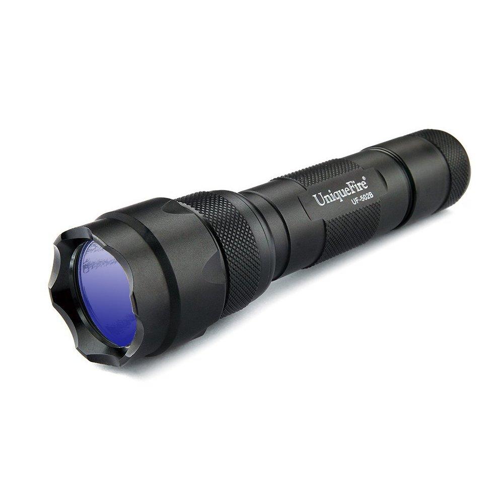 UniqueFire 395nm LED UV Torch Flashlights, Pet Urine and Stain Detector (Black) 501B 365nm