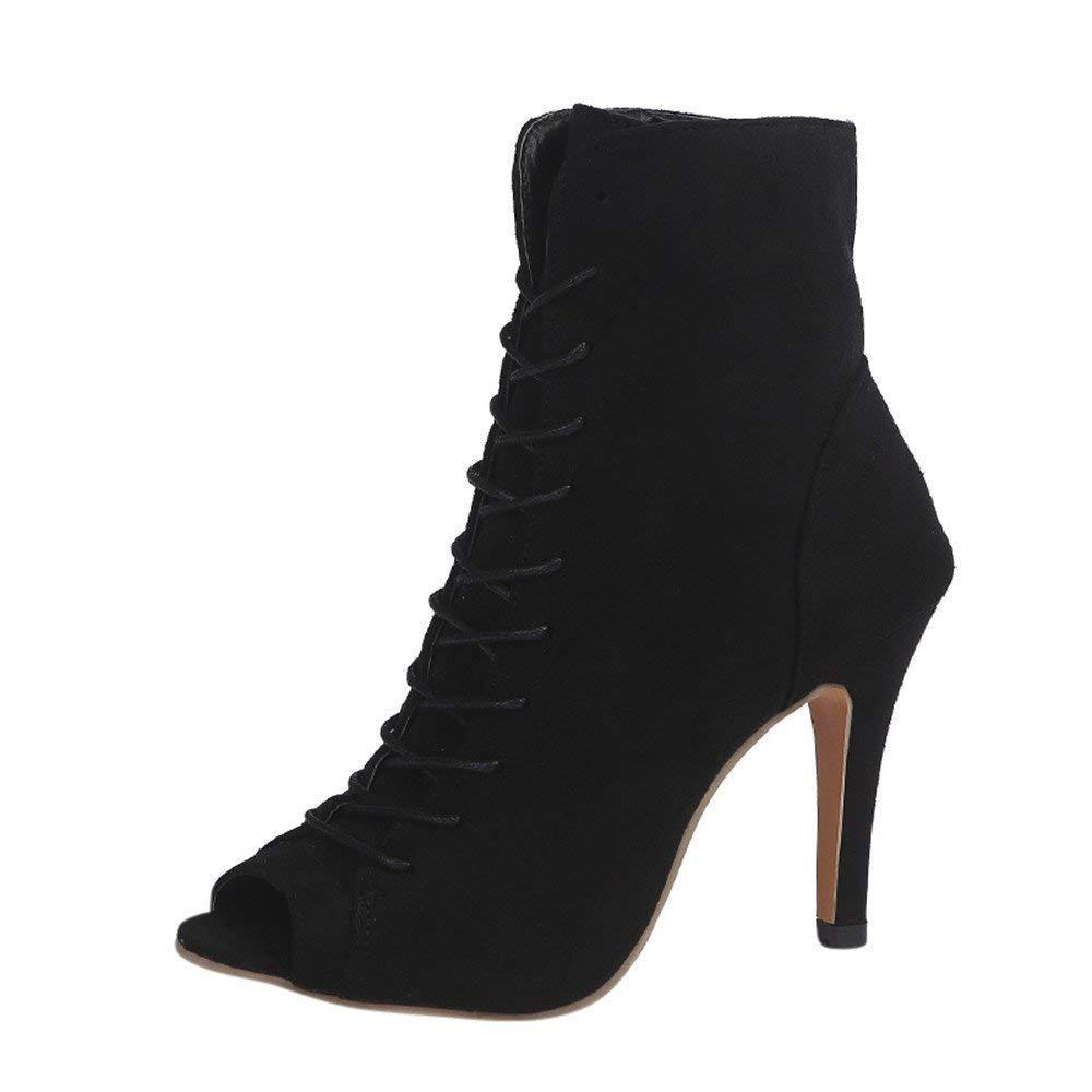 ZHRUI Stiefel Damen Schuhe Damenstiefel Knöchel High Heels Peep Toe Wedges Block Party Singel Elegant Keilabsatz Schlupfstiefel Stiefeletten (Farbe   Schwarz Größe   39 EU)