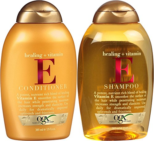 OGX Healing Plus Vitamin E Shampoo and Vitamin E Conditioner 13 oz [Bundle of 2 Items]
