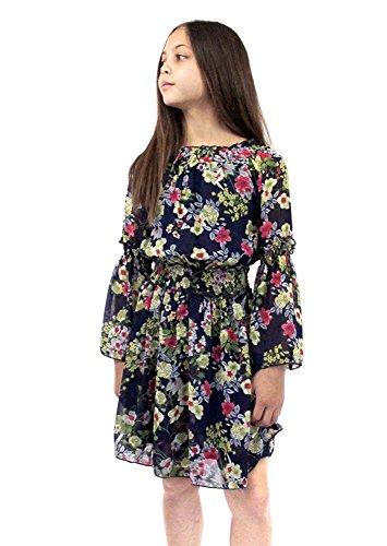 Smukke, Big Girls Elegant Floral Printed Chiffon Off-The Shoulder Long Sleeves Dress and Rompers, 7-16 (Navy Floral, 10)