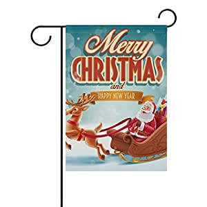 U LIFE Vintage Merry Christmas Santa Claus Garden Yard Flag Banner for Outside House Flower Pot Double Side Print 12 x 18 Inch