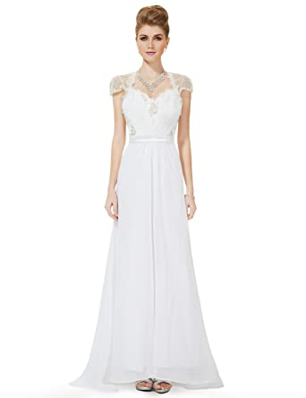 4f984faa9c Ever-Pretty Sexy Sequined Lacey V-neck Long Evening Wedding Party Dress 16  US White at Amazon Women s Clothing store