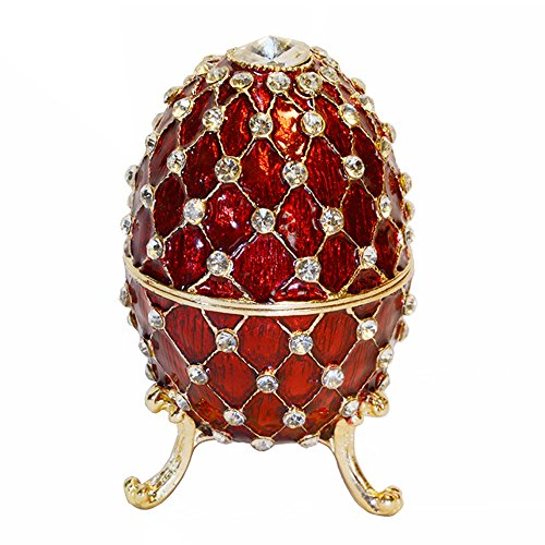 Red Russian Styled Egg Crystal Bejeweled Trinket Necklace...