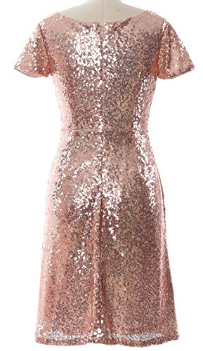 MACloth Gorgeous Cap Sleeve SequinCocktail Dress Boat Neck Short Bridesmad Dress Gold