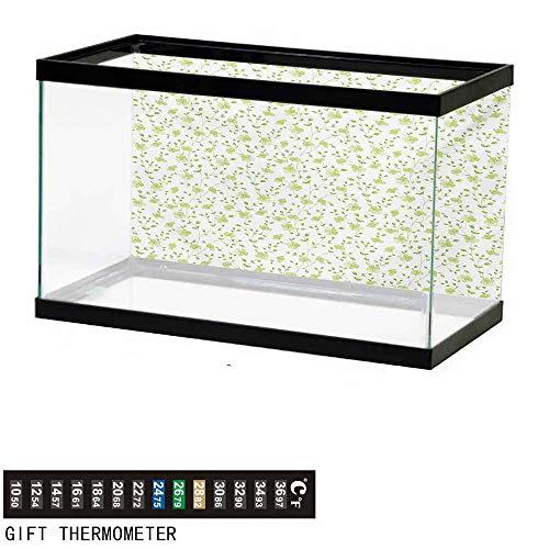 - wwwhsl Aquarium Background,Flower,Morning Garden Freshness Greenery Modern Old Fashioned Silhouette Artwork,Pale Green White Fish Tank Backdrop 48