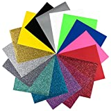 (US) Iron On Heat Transfer Vinyl Bundle 16 sheets 8 Glitter 8 Non Glitter 12 x 10 inch. Use with Cricut, Silhouette. Ideal for T Shirts, Crafts. Turn Your Vision into Reality with this Premium HTV Material