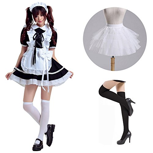 Costume-Tokyo Maid Fancy Dress Cosplay with Petticoat, High Socks Set (FBA) (Medium, (Anime Teen Costumes)