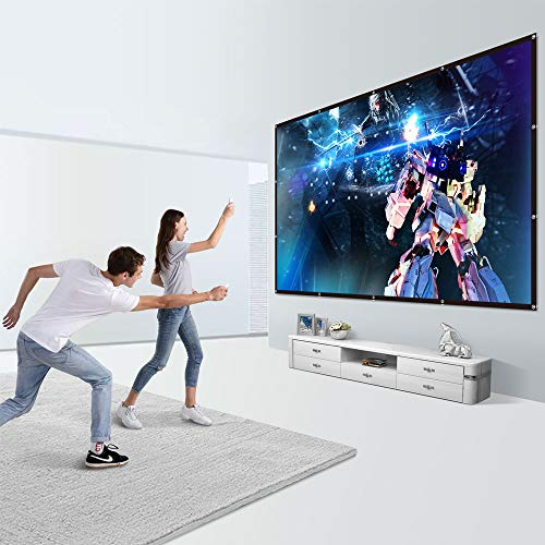 Yome 120 Inch Projector Screen, 16:9 HD Anti-Crease Indoor Outdoor Foldable Portable Movie Screen Support Double Sided Projection for Home Office Travel Party, 4K, 3D, White Photo #6