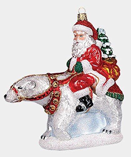 Polar Riding Bear (Pinnacle Peak Trading Company Santa Riding a Polar Bear Polish Mouth Blown Glass Christmas Ornament Decoration)