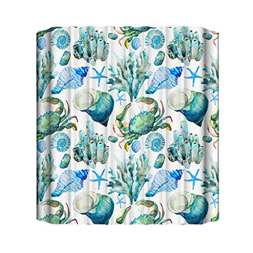 Jessie storee Marine Life Shower Curtain 72 x 72 inch with 12 Rustproof Hooks,Resistant Polyester Shower Liner for Shower Stall, Bathtubs, Washable C