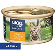 Amazon Brand - Wag Wet Cat Food, Turkey & Chicken Recipe in Gravy, 3 oz Can (Pack of 24)