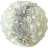 10-Inch Avorio Rose Bouquet nuziale, semplice, elegante spilla bouquet da sposa bouquet, gioielli, damigelle Bouquet.Nuovi prodotti