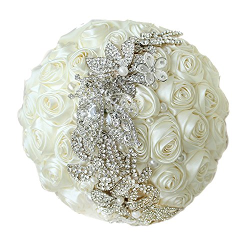 (10-inch ivory roses wedding bouquet, simple, stylish brooch bridal bouquets, jewelry bouquet, bridesmaids bouquets .New Products)