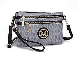 Mkf Crossbody Bags For Women Removable Adjustable Strap Handbag Wristlet Small Vegan Leather Messenger Purse Grey