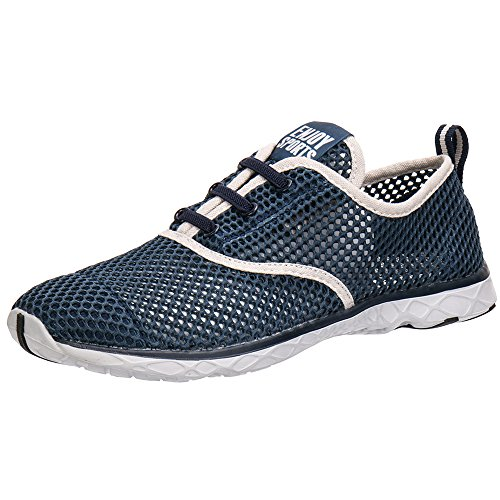 ALEADER Men's Quick Drying Aqua Water Shoes Blue 9.5 D(M) US - Mesh Water Shoes