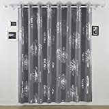 Deconovo Fashion Light Grey Flower Foil Printed Thermal Insulated Bedroom Blackout Grommet Curtain for Children Room 100×95-inch Review