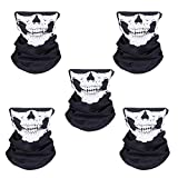 Automotive : WOVTE Black Seamless Skull Face Tube Mask Pack of 5