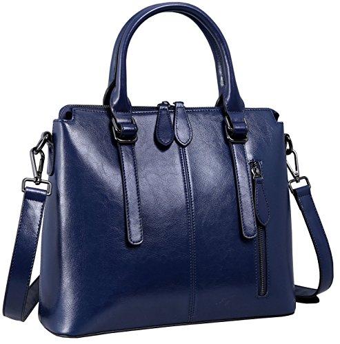 Heshe Womens Leather Shoulder Handbags Tote Top Handle Bags Crossbody Handbag and Satchel and Purse for Ladies (Dark Blue)