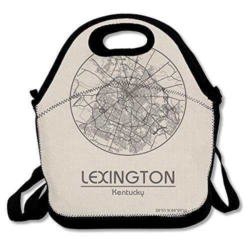 City Map In USA Lexington Kentucky North America Lunch Bag Custom Bento Box Picnic Cooler Bag Lunch Tote Bag For Women Men