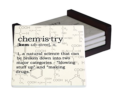 - Chemistry Definition 4-Piece Sandstone Coaster Set - Caddy Included